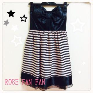 新品ROSEfanfan/リボンボーダーベアワンピ黒ピンク