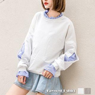 カットソー☆襟付き☆カットソー☆長袖☆tシャツ☆重ね着風