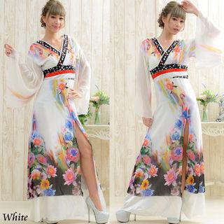 フラワーシフォンロング着物ドレス
