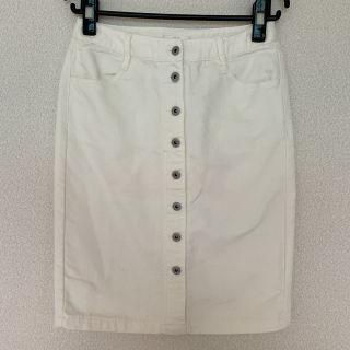 ViS 膝丈白スカート(難あり)