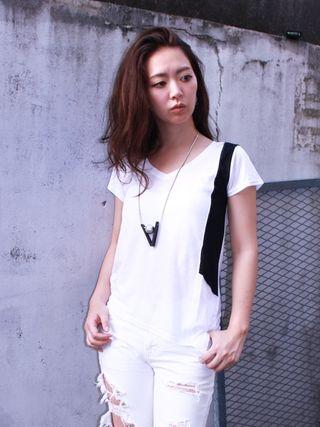 新品 BARAK 2トーンアシメTシャツ