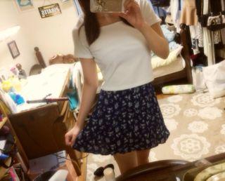 花柄スカート青