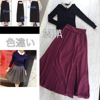 MIIA スリット入マキシスカート&襟付きリブトップス