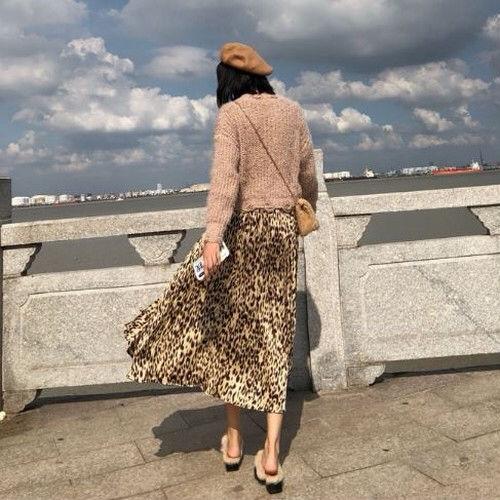 レオパード プリーツスカート ベージュ ロングスカート