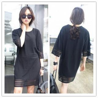 新品 袖、裾キレイワンピース ブラック