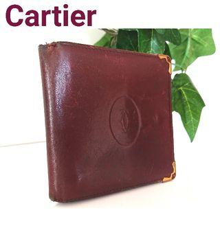 正規 カルティエ レザー 折り財布 ボルドー マストライン
