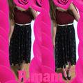 コーデセットスカラップトップス+花柄ロングスカート