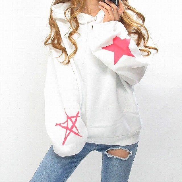 バクプリ星柄ロゴ星袖BIGパーカー/オーバーサイズ