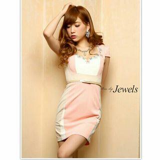 定価6980円 ホワイト ピンク ビジュー 袖あり ドレス