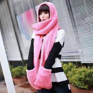 フード付きマフラー 手袋付き ふわふわ もこもこ ピンク