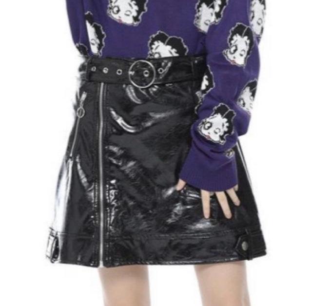 レザースカート 台形スカート レザー