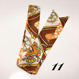 ツイリースカーフ11.茶色 オレンジ