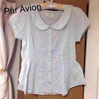 Par Avion*花刺繍ペプラムブラウス