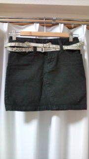 mimily黒ベルト付きミニスカート#58