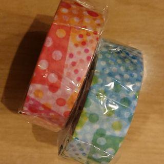 ネガポジドットマスキングテープ!ピンク&ブルー