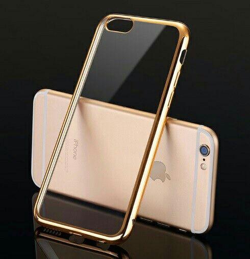 3 iPhoneカバー ソフト クリアケース ゴールド
