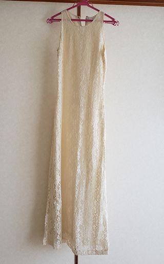 オフホワイト クリーム色 ロング ワンピース ドレス