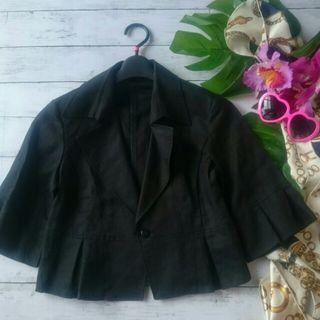 新品!コムサイズム麻混フレアスリーブ七分袖ジャケット
