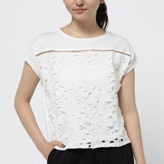 dazzlin立体花柄レースTシャツ