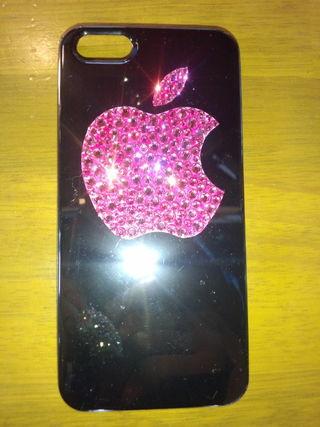 iPhoneケース スワロデコ アップルマーク ピンク