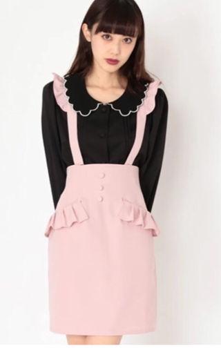 フリルサス付きスカート ピンク