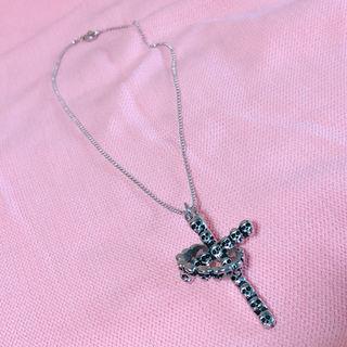 ドクロ スカル 十字架 ネックレス