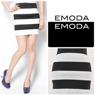 EMODA ボーダー タイトミニスカート