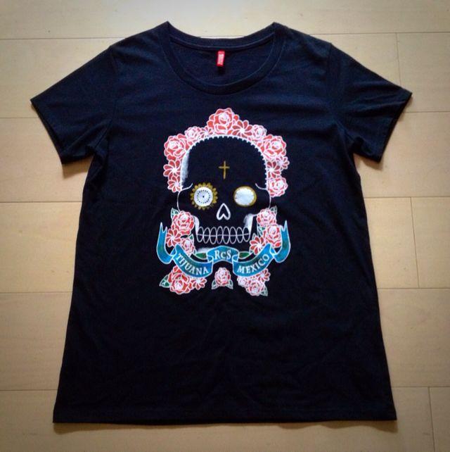 スカルと薔薇Tシャツ