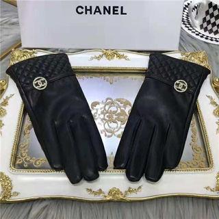 シャネルレディース冬暖かいレザー手袋