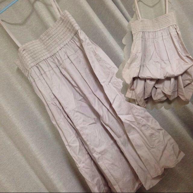ピンクベージュ変形スカート