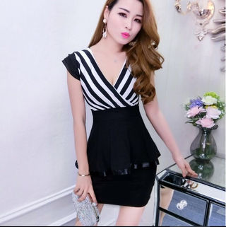 黒 白 セットアップ ストライプ タイト ミニ ドレス