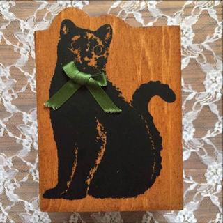 黒猫のペン立て
