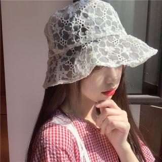 レースハット バケツハット 花柄 白 刺繍ハット 帽子