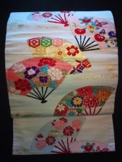 カワイイ扇*刺繍ナゴヤ正絹*レトロ帯美品レタR