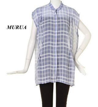 新品 MURUA チェックシアーシャツ