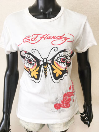 073・Ed Hardy蝶々柄Tシャツ