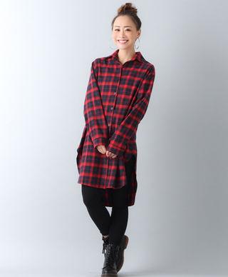 赤チェックロングシャツLサイズ