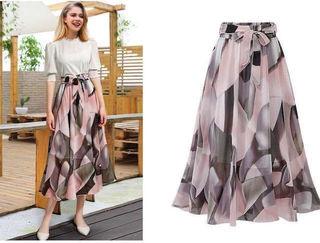 新品腰リボン付きミモレ丈シフォンスカート ピンク Fサイズ