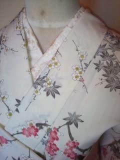 白モミジ梅化繊ウール単衣156未使用レタP