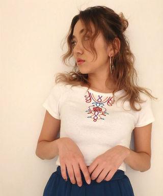EVRIS  ローズデコ刺繍ショートTシャツ