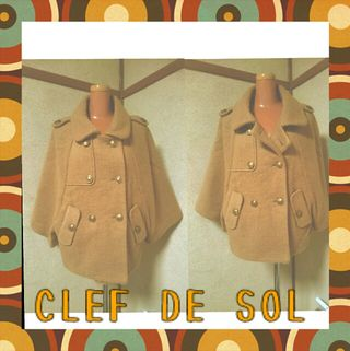 CLEF DE SOL ポンチョ風ピーコートLライトブラウン