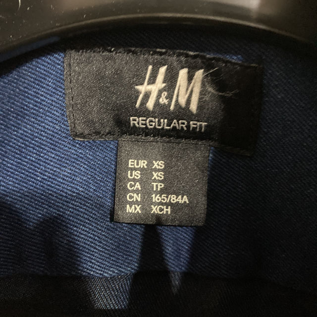 H&M エイチアンドエム デニムシャツ 濃いネイビー