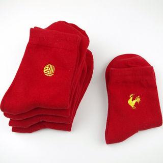 縁起のいい赤の力 赤ソックス2足セット 福刺繍+鳥刺繍