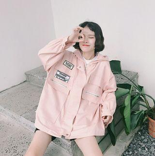 韓国風 レディースコートトップス   付きパーカー ピンク