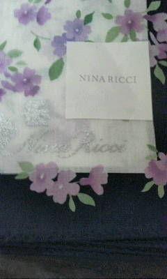 ニナリッチパープル系花柄大判ハンカチ