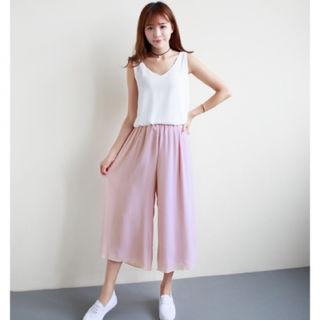 SALE!!履き心地最高9分丈ロングガウチョパンツ/ピンク