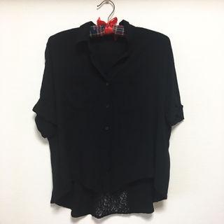 LEPSIM 5分袖 ブラウス スキッパーシャツ シースルー