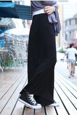 黒 大人カジュアル 体型カバー ワイドパンツ ガウチョパンツ