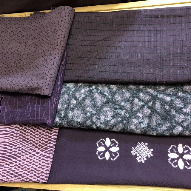 着物 反物 紫系2 ハンドメイド素材 和装小物リメイク
