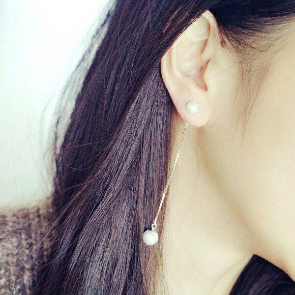 (424)淡水パール & 925シルバー パールピアス 両耳